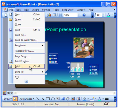 Open the presentation in Microsoft PowerPoint and press File-Print... in application main menu.